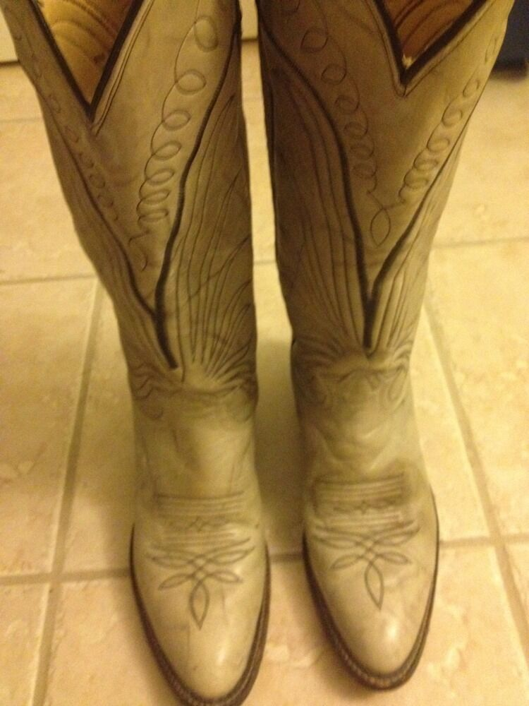 Vintage Tony Lama Women's Gray Grey Leather Western Cowboy Boots 7119 Size 8.5A