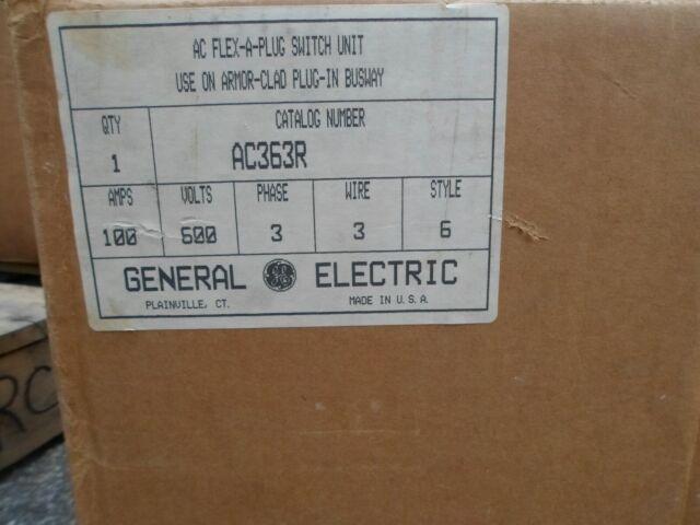GE  AC363R, 100 AMP 600 VOLT 3 WIRE BUSPLUG- NEW