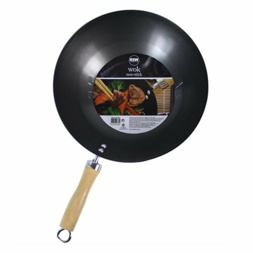 """Non Stick Carbon Steel Wok 11/"""" 28cm Diameter for Chinese Cooking /& Frying"""