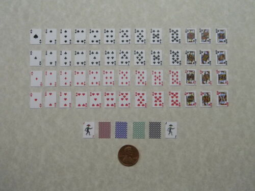 Miniature Playing Cards 1:6 Play Scale with Black Backings
