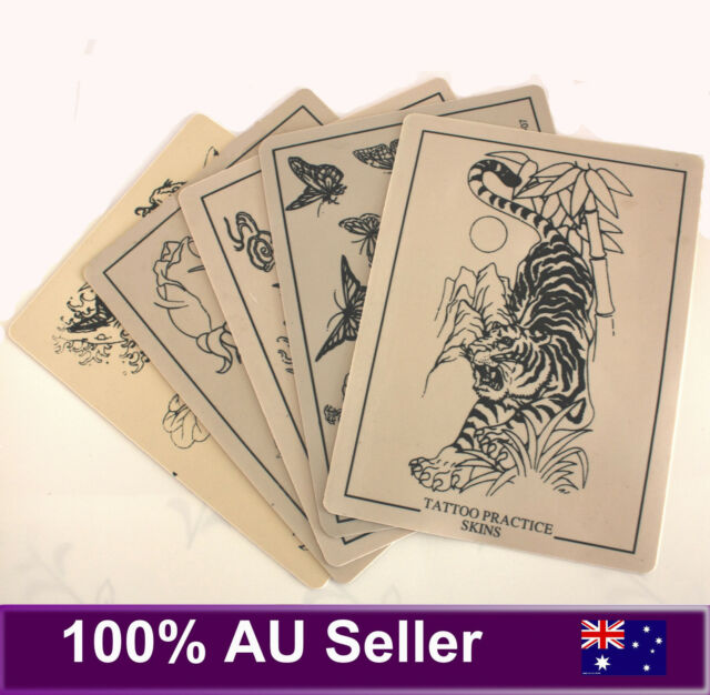 10 Pcs Tattoo Practice Skin - 5 x Double Side Blank + 5 x Pre-designed Printed