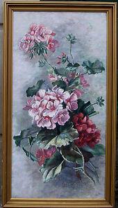 Schlichtkrull-A-branch-of-pink-flowers-1890-Fine-antique-floral-oil