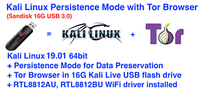 Details about Kali Linux 2019 01 64-bit with Persistence and Tor(Sandisk  16G USB 3 0 drive)