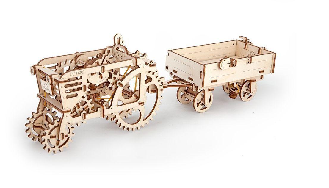 Mechanical UGEARS wooden 3D Model TRACTOR + TRAILER Construction Set