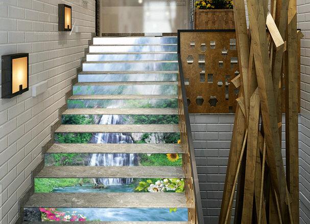 3D Mountain Falls 1 Stair Risers Decoration Photo Mural Vinyl Decal Wallpaper AU