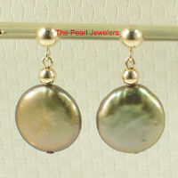 Tpj 14k Solid Yellow Gold 4mm Ball; Pistachio Coin Cultured Pearl Dangle Earring
