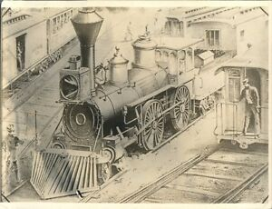 Details about Vintage Black & White Train photo Steam locomotive drawing  ????