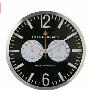 Precision-Wall-Clock-Radio-Controlled-Black-Hygrometer-amp-Thermometer-30cm-Round
