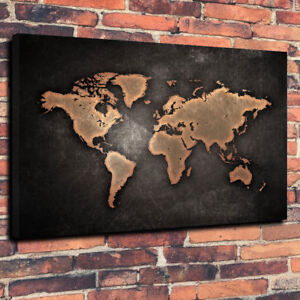 Vintage retro style world map printed box canvas picture a130x20 image is loading vintage retro style world map printed box canvas gumiabroncs Gallery
