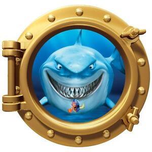 Wall Art Decor Finding Nemo Shark Bruce Portholes Kids Bedroom ...