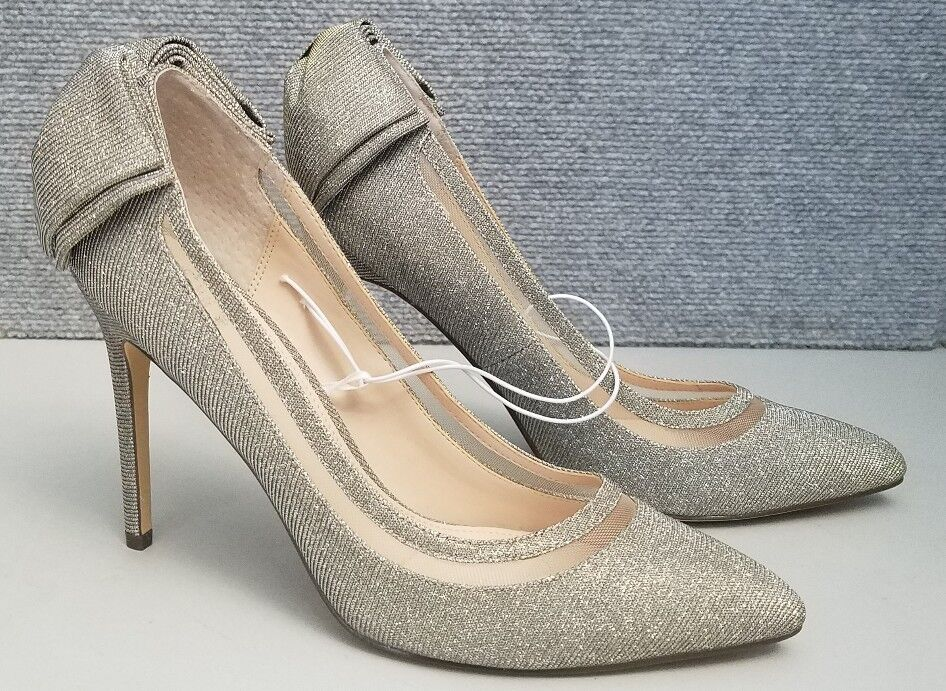 IM Reyhan Steel Stiletto High Heel Sparkle Silver Womans shoes Size 9 1 2