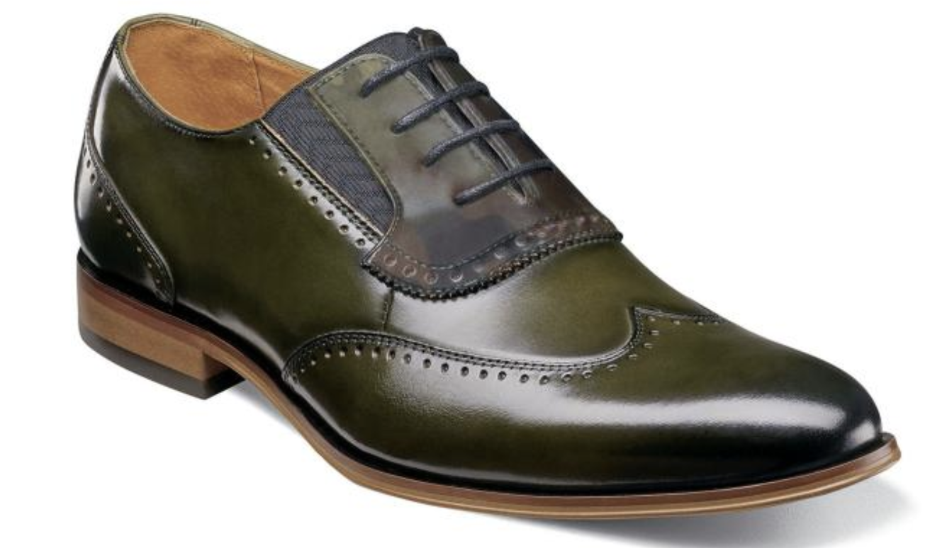 Stacy Adams Sullivan Bout D'Aile chaussures Oxford Dressy Lacets Olive 25306-303