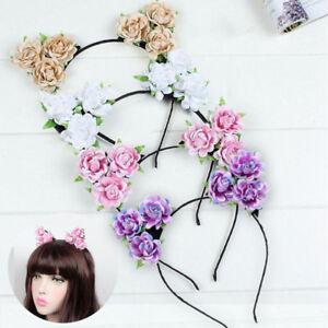 Image is loading FLOWER-CAT-EARS-HEADBAND-PRETTY-FLOWER-HAIRBAND-FESTIVAL- 7cd33452ab3