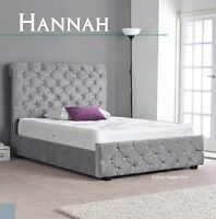 Hannah Fabric High Quality Bed 3ft 4ft6 5ft 6ft Colour Options