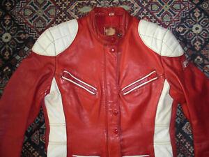 vintage-POLO-Motorradjacke-Bikerjacke-Leder-oldschool-rot-motorcycle-jacket-40-S