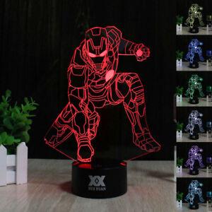 Image Is Loading Marvel Superhero Iron Man 3D Acrylic LED Night