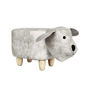 Kid's Fabric Small Dog Animal Footstool Padded Cushion Rest Bedroom Seat Pouffe