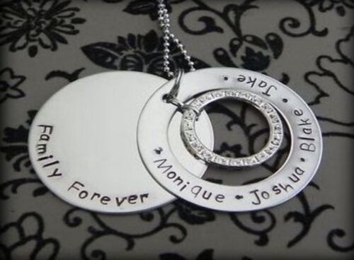 Personalised  Hand Stamped Family Forever//Names Pendant 38mm