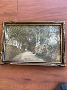 J-C-Bicknell-Hand-Colored-Photograph-Signed-Framed-Birches-On-The-Trail