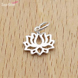 Sterling-Silver-Lotus-Flower-Yoga-Zen-Namaste-Pendant-Charm-Necklace-Bracelet-I