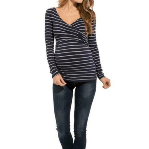 Fashion Women Striped Nursing Top Sweatshirt Blouse Pregnancy Maternity FW