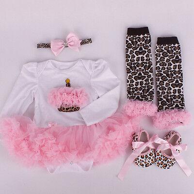Newborn Infant Baby Girls Headband+Romper+Leg Warmers+Shoes Cupcake Set Clothing