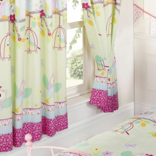 """OWLS /'TWIT TWOO/' BIRDS FLOWERS 66/"""" x 72/"""" LINED CURTAINS WITH TIE-BACKS GIRLS"""