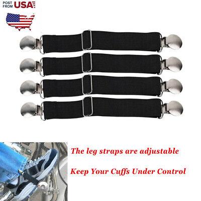 2x Motorcycle Stirrup Pant Clips Bike Leg Boot Elastic Adjustable Straps US Ship