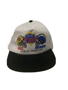 Super-Bowl-XXIX-49ers-Chargers-Vintage-White-Snapback-Hat-1995-Miami-FL