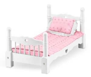Melissa Doug White Wooden Doll Bed With Bedding 24 X 12 X 11 Inches