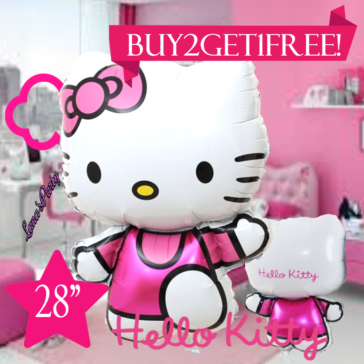 KING SIZE HUGE HELLO KITTY HELIUM GAS  Foil Balloons For Birthday Wedding Party