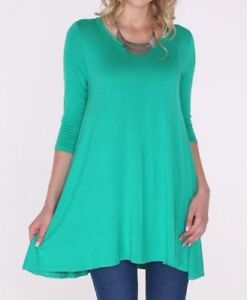 Details about Plus Size 1X New 3/4 Sleeve Kelly Green Stretch Tunic Top  Shirt Blouse Dress