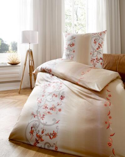 Kaeppel Biber Bettwäsche je2x80x80cm+155x220cm Blumen beige lachs 456//556 4 tlg