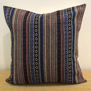 18-034-45cm-Mexican-Fabric-BLUE-BLACK-GOLD-ORANGE-Cushion-Cover-Made-Australia