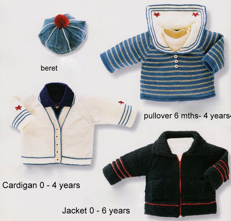 Baby/Boy Nautical Set ~ Jacket Beret Pullover Cardigan ~ Knitting ...