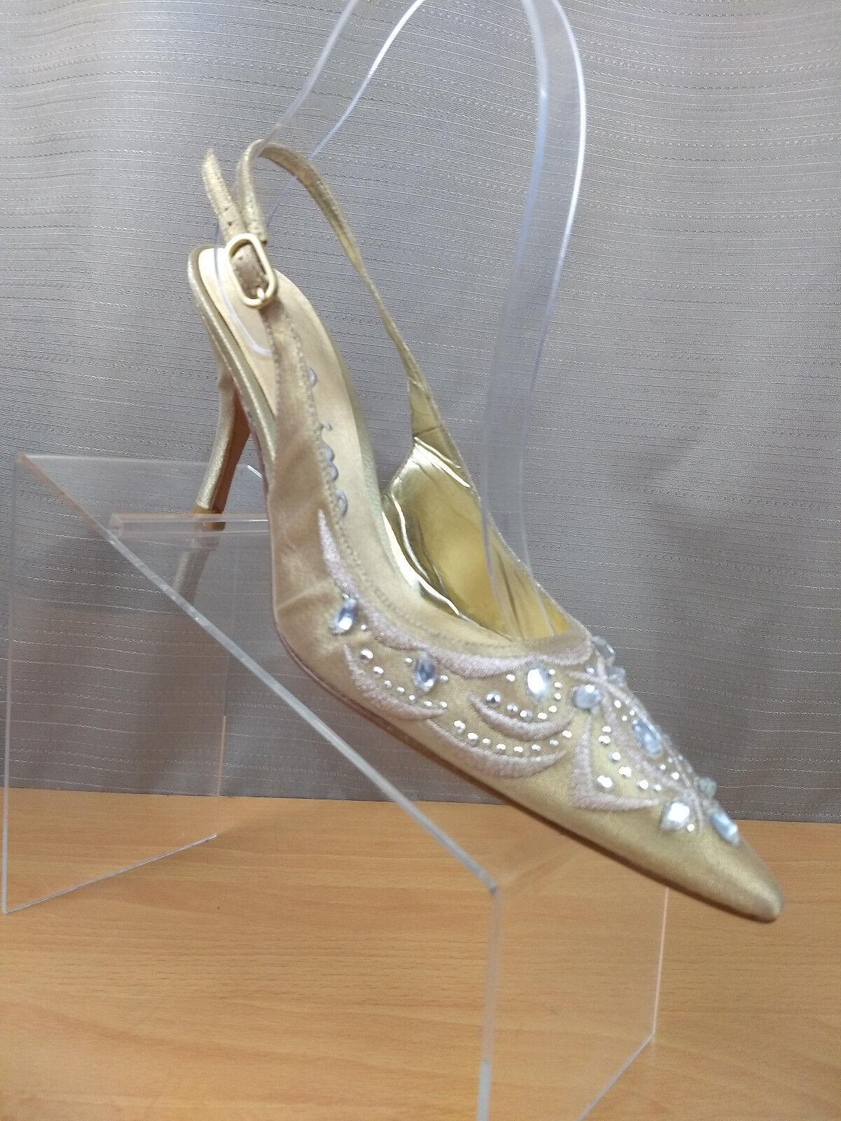 Nina Gold Jeweled Pointy Toe Buckle Slingback Slip Heels On Heels Slip Größe 6.5 M 974bee