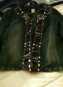 coton femme taille M Malibu des 100 en jean bijoux pour Veste avec q0wpXAW0