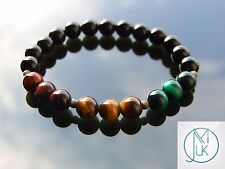 "RASTA Mix Gemstone Braccialetto Con Perline 7-8"" elasticizzati chakra guarigione"