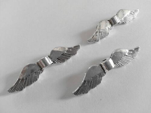20 grandes alas perlas pájaro XL plata metal ala de ángel 35mm Ángel de la guarda