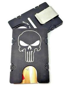 Aluminum Wallet//Credit Card Holder Black RFID Protection Punisher Skull Flag