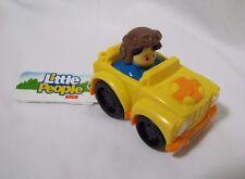 NEW Fisher Price Little People Wheelies BOY in YELLOW JEEP DUNE BUGGY w/ HELMET