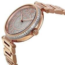 NEW MICHAEL KORS SKYLAR CRYSTAL PAVE ROMAN NUMERAL ROSE GOLD WATCH MK5868