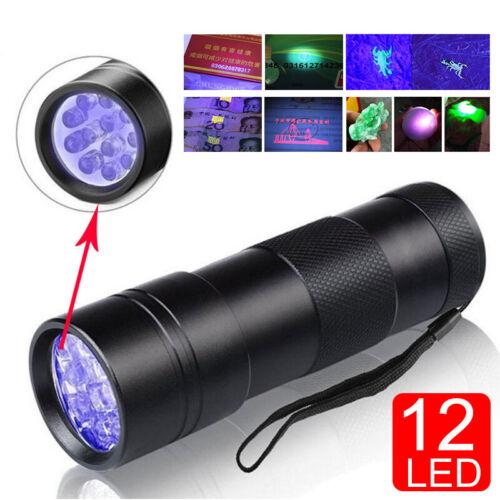 UV Ultra Violet 12 LED Lampe de poche Lumière noire 395nm Lampe d/'inspection