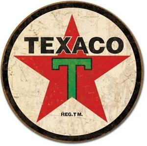 Texaco Star Rustic Historic Nostalgic Round Tin Metal Sign Made In The USA