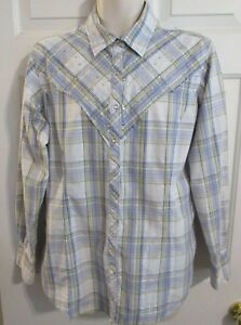 ARIAT-Women-XL-Blue-Metallic-Plaid-Rhinestone-Embellish-Pearl-Snap-Western-Shirt