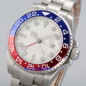 Saphirglas-40mm-Herren-Automatische-GMT-Armbanduhren-Uhren-Markenlos-Parnis