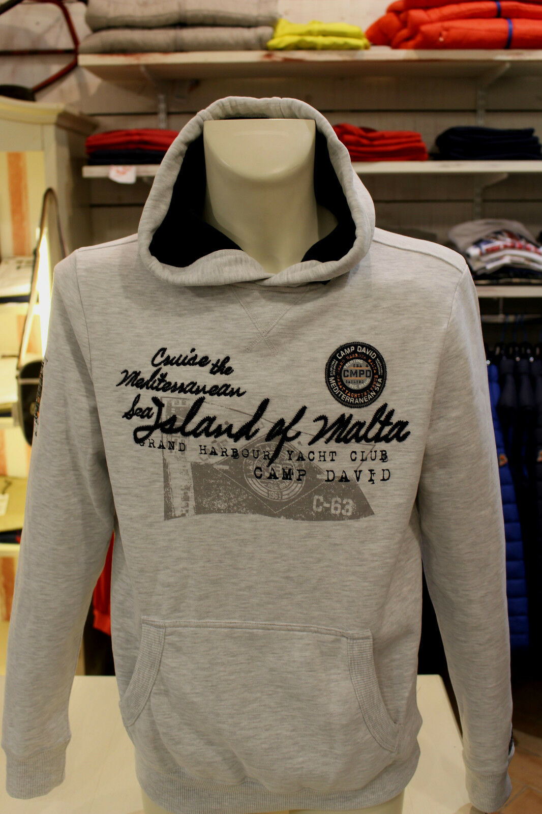 CAMP DAVID,Sweatshirt,Kapuze,Neue Koll.,Blau oder Grau, Fleece-Futter,Origin