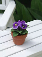 Miniature Dollhouse Fairy Garden Tiny Purple Pansy Flowers Pansies Pot