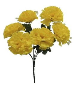 6 Carnations YELLOW Silk Wedding Bridal Bouquet Centerpieces Flowers Decoration