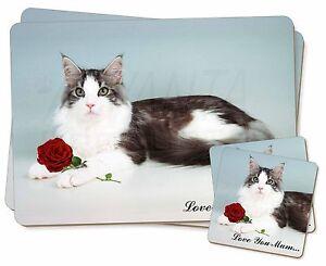 Gato-Rosa-Roja-039-Love-You-Mum-039-Individual-2x-Manteles-2x-Posavasos-Set-en